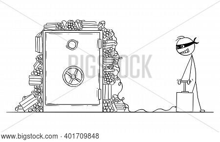 Vector Cartoon Stick Figure Illustration Of Robber With Mask Ready To Blow Up Bank Safe With Bomb Or