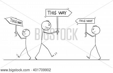 Vector Cartoon Stick Figure Illustration Of Group Of Individual Businessmen Or Men Walking With This