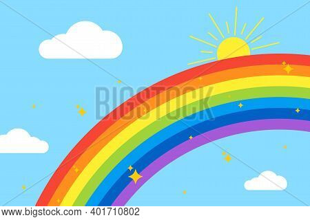 Rainbow Background. Sky With Rainbow, Clouds, Sun And Stars. Isolated On Light Blue Background. Vect