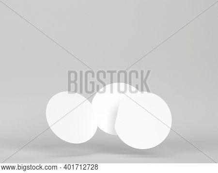 Blank Bi-fold Round Brochure. 3d Illustration On Gray Background