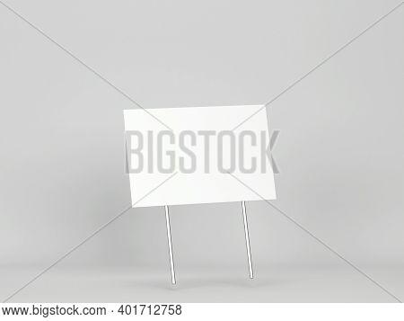 Blank Yard Sign Mockup. 3d Illustration On Gray Background