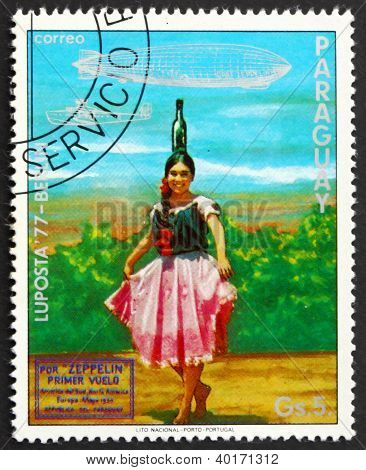 Postage stamp Paraguay 1977 Indian Girl in Bottle Dance Costume