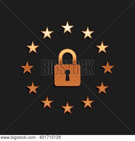 Gold Gdpr - General Data Protection Regulation Icon Isolated On Black Background. European Union Sym