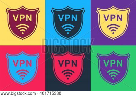 Pop Art Shield With Vpn And Wifi Wireless Internet Network Icon Isolated On Color Background. Vpn Pr