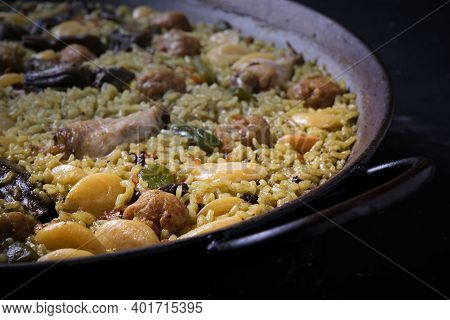 Foreground Of Paella Of Rice With Paella Valenciana