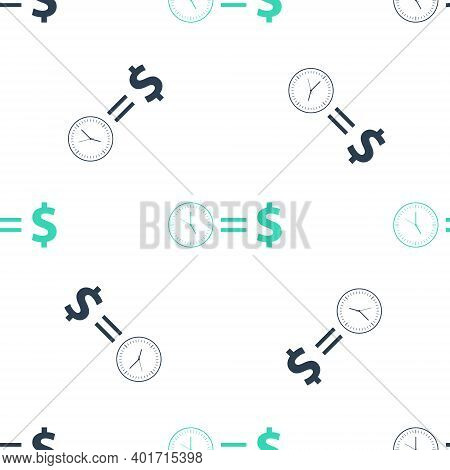 Green Time Is Money Icon Isolated Seamless Pattern On White Background. Money Is Time. Effective Tim
