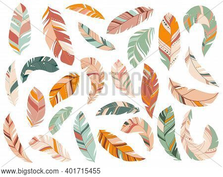 Tribal Feathers Mint, Coral, Navy And Yellow Gold Vector Set. Fluffy Feathering Quil And Colorful Fe