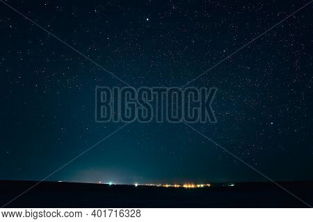 Landscape With Natural Night Sky Stars Background. Starry Sky Over Town.