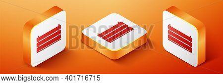 Isometric Wooden Box Icon Isolated On Orange Background. Grocery Basket, Storehouse Crate. Empty Woo