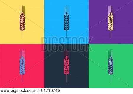 Pop Art Cereals Icon Set With Rice, Wheat, Corn, Oats, Rye, Barley Icon Isolated On Color Background