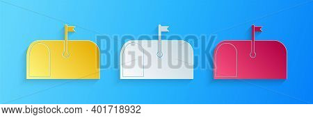 Paper Cut Mail Box Icon Isolated On Blue Background. Mailbox Icon. Mail Postbox On Pole With Flag. P