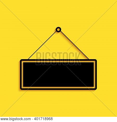 Black Signboard Hanging Icon Isolated On Yellow Background. Suitable For Advertisements Bar, Cafe, P