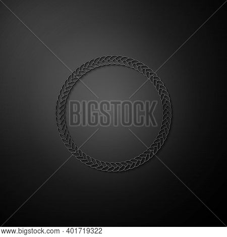 Silver Rope Frame Icon Isolated On Black Background. Frames From Nautical Rope. Round Marine Rope Fo