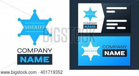 Logotype Hexagonal Sheriff Star Icon Isolated On White Background. Sheriff Badge Symbol. Logo Design