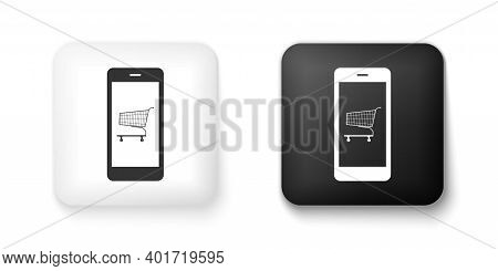 Black And White Online Shopping Concept. Shopping Cart On Screen Smartphone Icon Isolated On White B