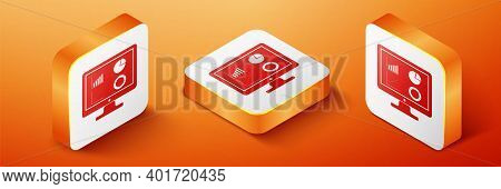 Isometric Computer Monitor With Graph Chart Icon Isolated On Orange Background. Report Text File Ico