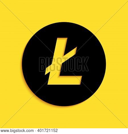 Black Cryptocurrency Coin Litecoin Ltc Icon Isolated On Yellow Background. Digital Currency. Altcoin