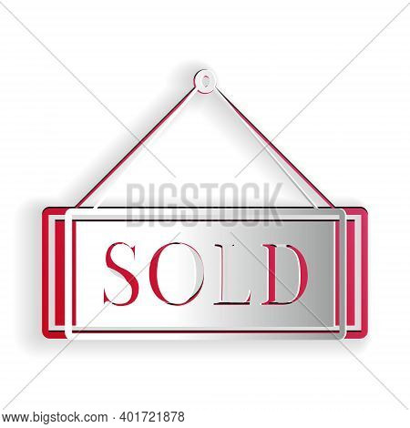 Paper Cut Sold Icon Isolated On White Background. Sold Sticker. Sold Signboard. Paper Art Style. Vec