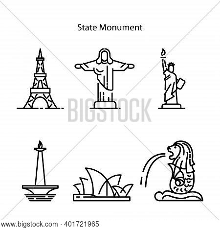 State Monument Icon Set Isolated On White Background From Buildings Collection. State Building Icon