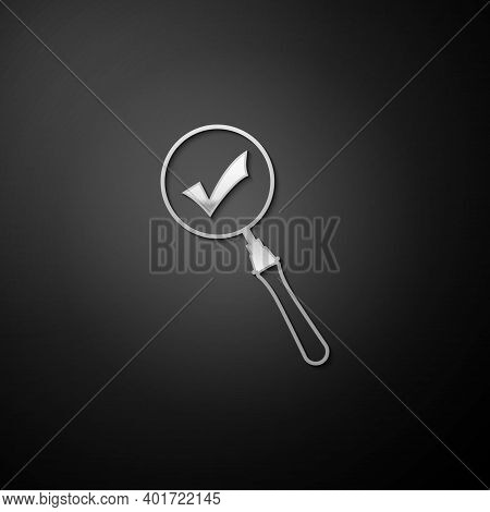 Silver Magnifying Glass And Check Mark Icon Isolated On Black Background. Magnifying Glass And Appro