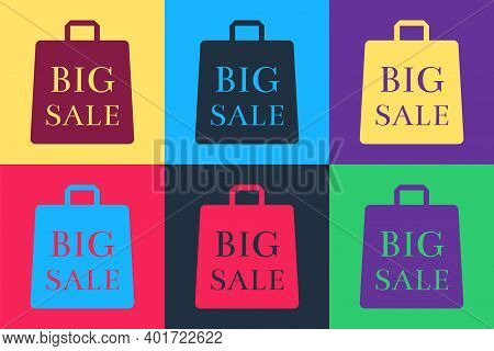 Pop Art Shoping Bag With An Inscription Big Sale Icon Isolated On Color Background. Handbag Sign. Wo