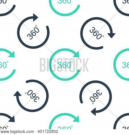 Green Angle 360 Degrees Icon Isolated Seamless Pattern On White Background. Rotation Of 360 Degrees.