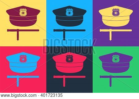 Pop Art Police Cap And Rubber Baton Icon Isolated On Color Background. Security Truncheons. Police S