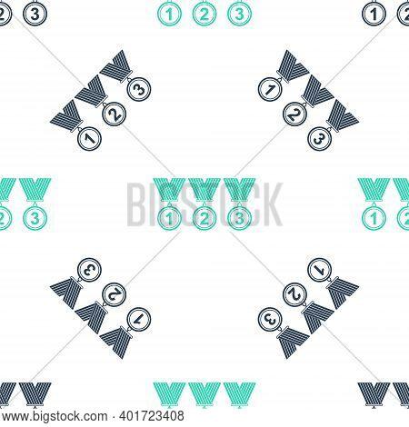 Green Set Medal Icon Isolated Seamless Pattern On White Background. Winner Simbol. Vector