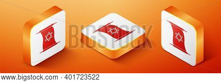 Isometric Torah Scroll Icon Isolated On Orange Background. Jewish Torah In Expanded Form. Torah Book