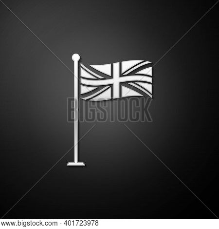 Silver Flag Of Great Britain On Flagpole Icon Isolated On Black Background. Uk Flag Sign. Official U