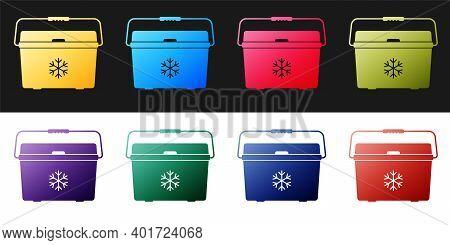 Set Cooler Bag Icon Isolated On Black And White Background. Portable Freezer Bag. Handheld Refrigera