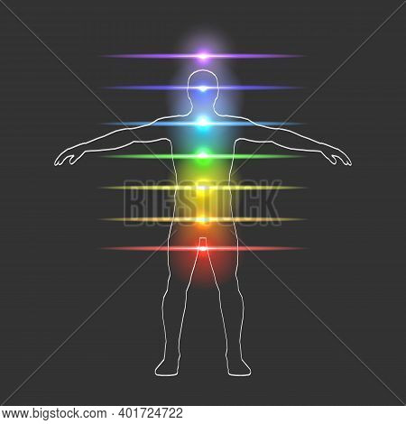 Vector Illustration Of Human Aura And Chakra Concept.