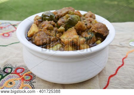 Sideview Of Undhiyu A Gujarati Traditional Winter Season Festival Indian Cuisine Very Popular During