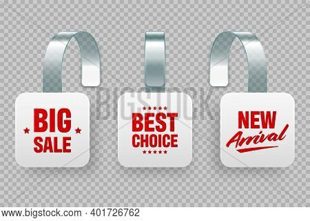 Supermarket Promotional Wobblers With Ad Text. Realistic Vector Wobbler Template For Shelf Advertisi