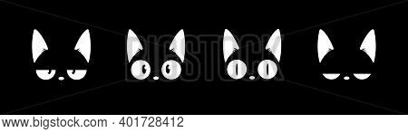 Black Cat Head Face Silhouette Icon Set. Vector Logo Cat For Tattoo Or T-shirt Design Or Outwear. Cu