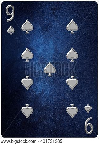 Nine Of Spades Playing Card, Space Background, Gold Silver Symbols, With Clipping Path.