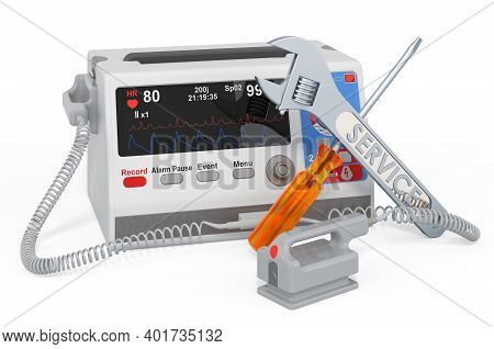 Service And Repair Of Automated External Defibrillator, 3d Rendering Isolated On White Background