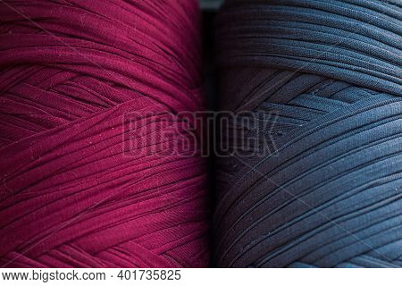 Two Skeins Of Knitted Yarn. Grey And Burgundy Knitting Threads For Bags And Home Design. Two Colour