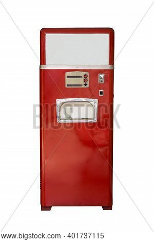 Old Vintage Red Soda Machine Isolated On White Background. Red Soda Vending Machine. Front View.
