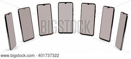 Black Mobile Smartphones With Blank Screen. Isolated On White Background. High Resolution Photo. Ful