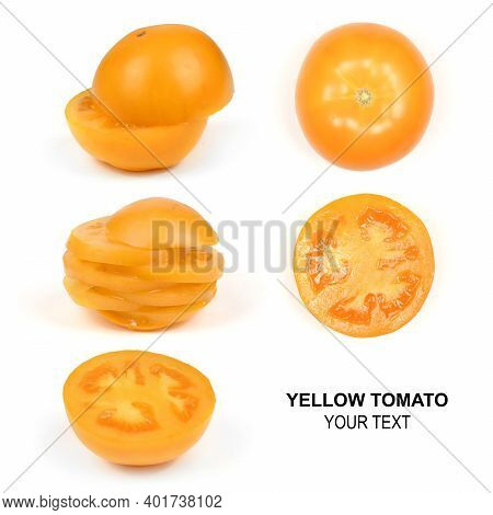 Creative Layout Made Of Yellow Tomato. Food Concept. High Resolution Photo. Full Depth Of Field.