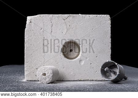 Drilling Large Diameter Holes In Brick. Holes For Mounting Electrical Boxes.