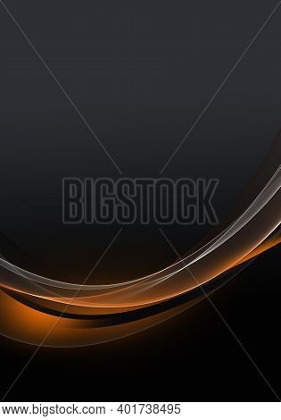 Abstract Background Waves. Colors: Caviar, Black And Orange Abstract Background For Wallpaper Oder B