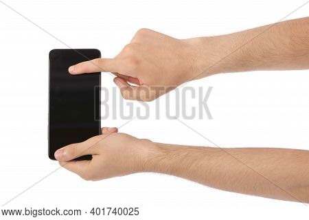 Man Hand Holding The Black Smartphone With Blank Screen. Isolated On White Background. High Resoluti