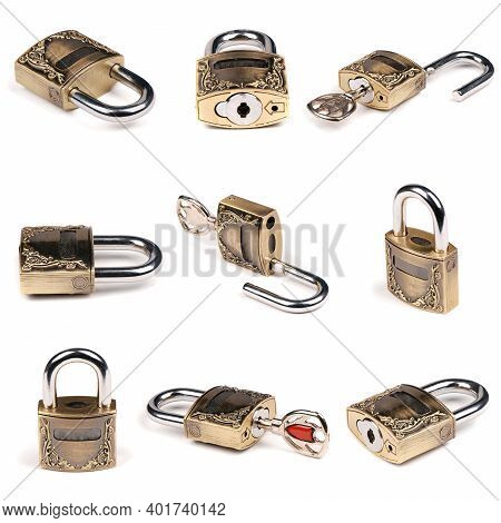 Creative Layout Made Of Bronze Padlock On White. High Resolution Photo. Full Depth Of Field.