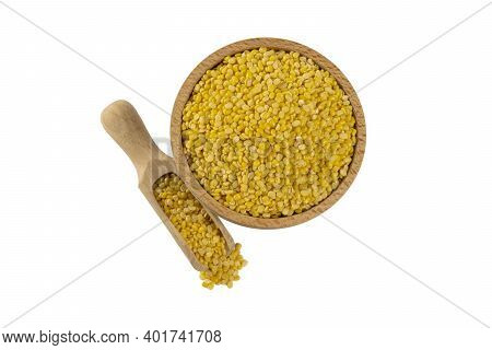 Mung Dal Or Mung Daal Bean In Wooden Bowl And Scoop Isolated On White Background. Nutrition. Bio. Na