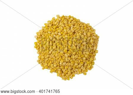 Mung Dal Or Mung Daal Bean Heap Isolated On White Background. Nutrition. Bio. Natural Food Ingredien