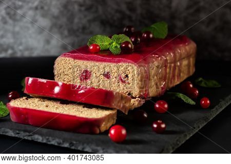 Fresh Chicken Terrine With Cranberry Berries, Cranberry Jelly And Mint On A Graphite Board
