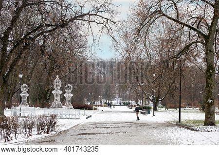 Vilnius, Lithuania - January 1, 2021: Bernardinai Garden In Winter Covered With White Snow.