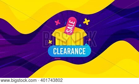 Clearance Sale Banner. Fluid Liquid Background With Offer Message. Discount Sticker Box. Special Off
